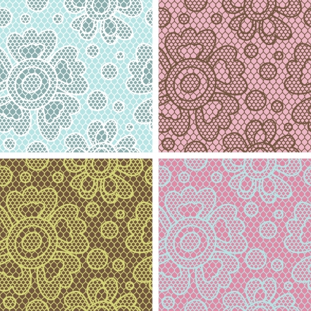 needlecraft: Set of lace seamless patterns with abstact flowers  Illustration