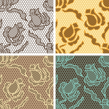 dibujos lineales: Conjunto de encaje de patrones sin fisuras con flores abstact