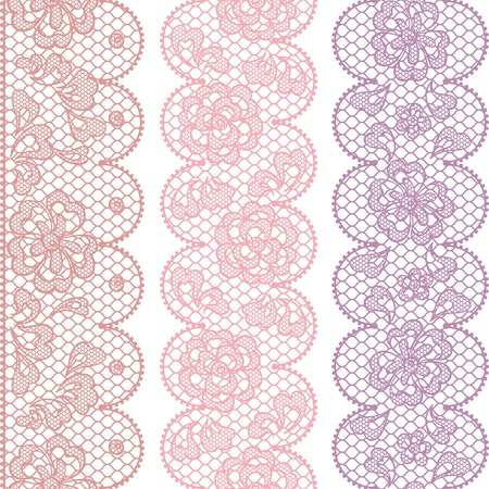 needlecraft: Lace fabric seamless borders with abstact flowers