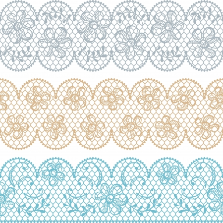 Lace fabric seamless borders with abstact flowers Stock Vector - 17925404