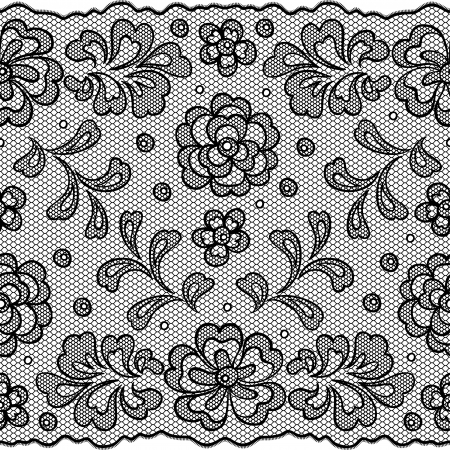 lace pattern: Lace fabric seamless border with abstact flowers  Illustration