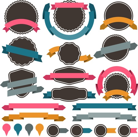 grunge banner: Set of retro badges, labels, ribbons and design elements  Illustration