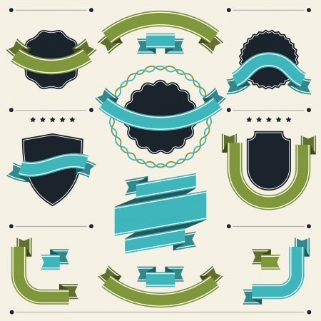 arms trade: Set of retro badges, labels, ribbons and design elements  Illustration