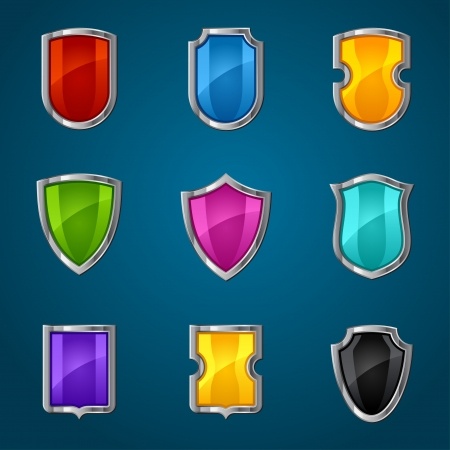 Set of shield icons, symbols and signs  Vector