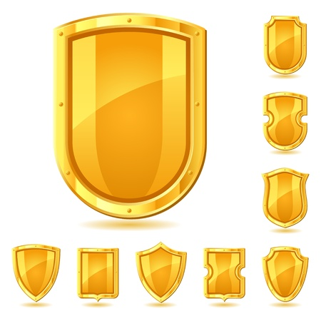 Set of shield icons, symbols and signs