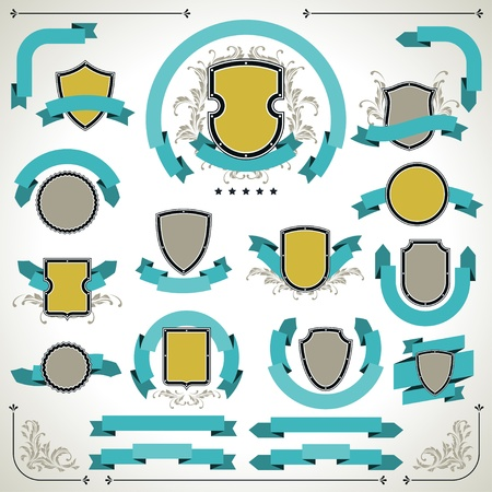 Vintage labels, shields and ribbons retro style set  Vector