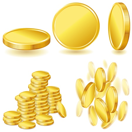Collection illustrations, icons of gold coins  Vector