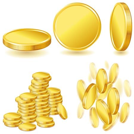 Colección de ilustraciones, iconos de monedas de oro