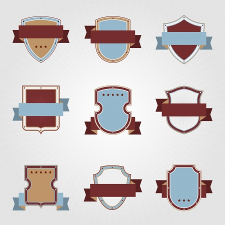 Vintage heraldry shields and ribbons retro style set Stock Vector - 18094901
