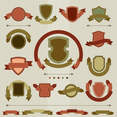Vintage heraldry shields and ribbons retro style set  Vector