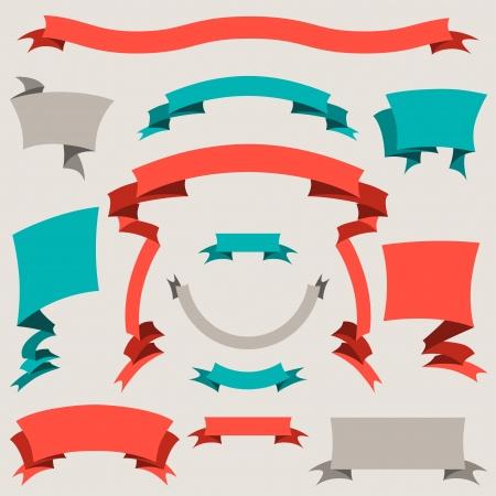 druckerei: Set von Retro-Abzeichen, Etiketten, Farbb�nder und Design-Elemente