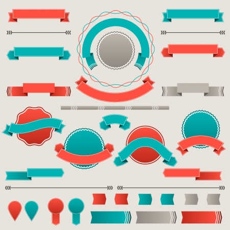 Set of retro badges, labels, ribbons and design elements Stock Vector - 18094893