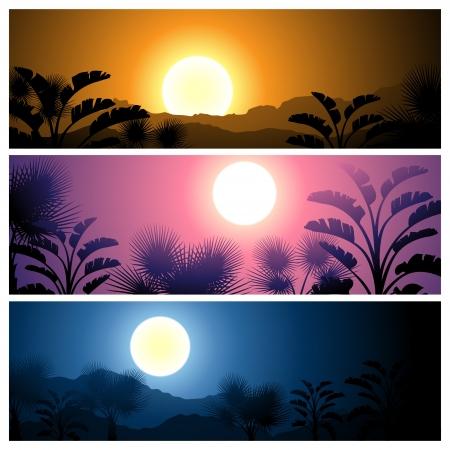 sonne mond: Tropical Banner gesetzt Landschaft, Sonne, Mond und Palmen Illustration