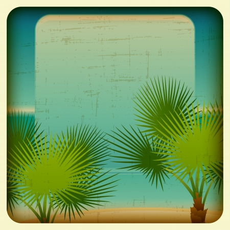 Retro background with seaside and palm trees  Vector