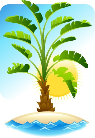 breakers: Tropical palm with sea on sunny background  Illustration