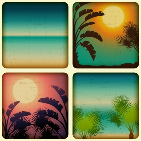 sunrise ocean: Retro tropical cards with seaside and palm trees