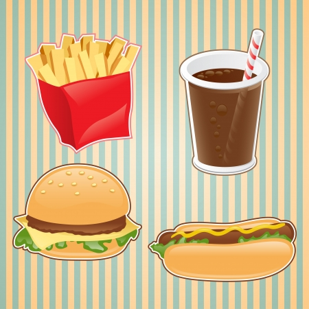 fried potatoes: Fast food icon of burger, french-fry and drink