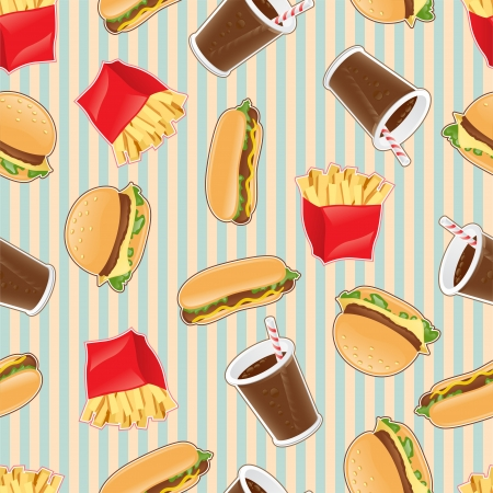 ballpark: Fast food seamless pattern background Illustration