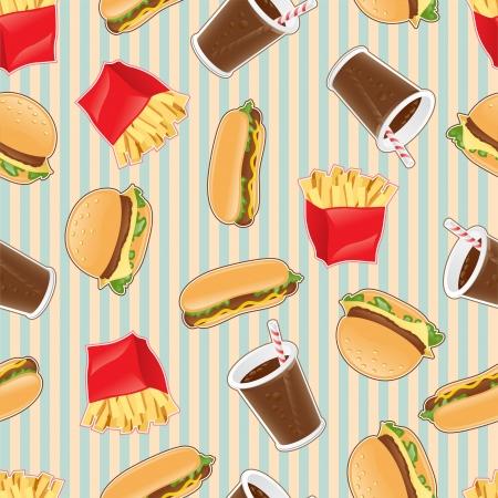 italian sausage: Fast food seamless pattern background Illustration