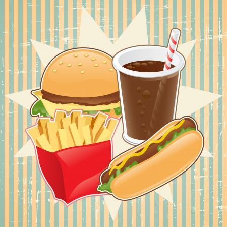 bread soda: Retro background with fast food