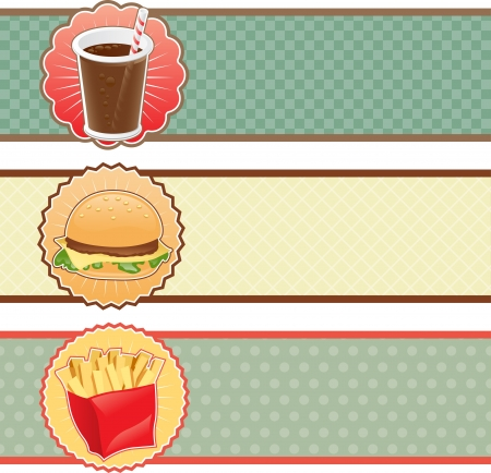unhealthy eating: Banner fast food con cola, hamburger e patatine fritte