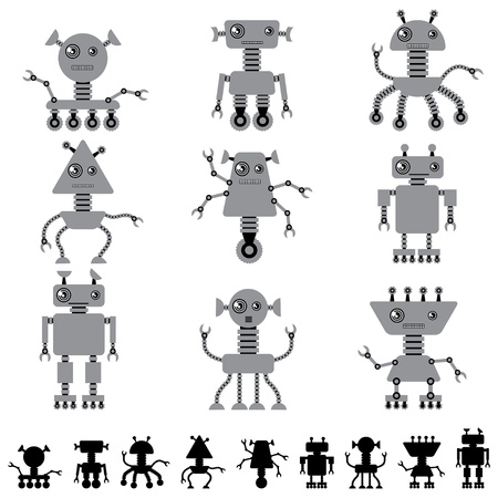 Little abstract robot doodle collection  Stock Vector - 18352605
