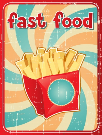 Fast food background with french fries in retro style  Vector