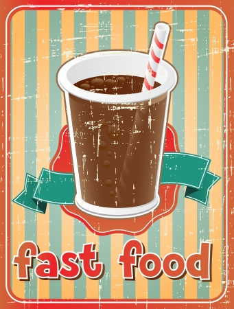bread soda: Fast food background with drink in retro style  Illustration