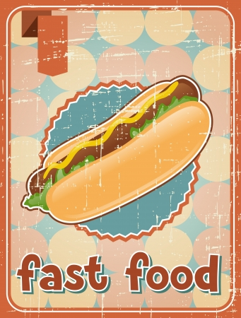 Fast food background with hot dog in retro style  Illustration