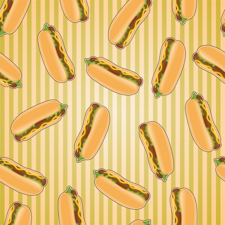 hot dog: Fast food seamless pattern background