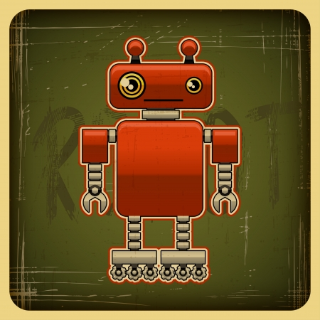 web robot: Card in retro style with the robot  Illustration