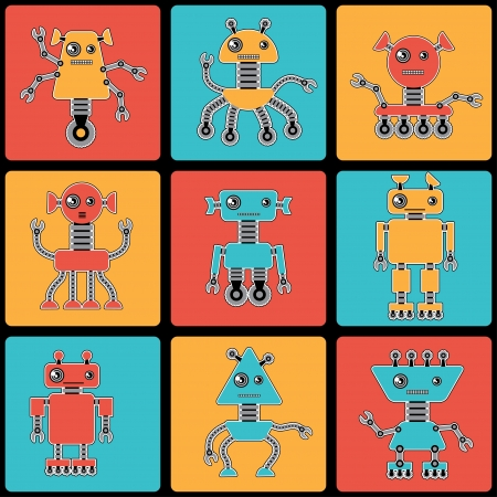Cartoon robots seamless pattern  Vector