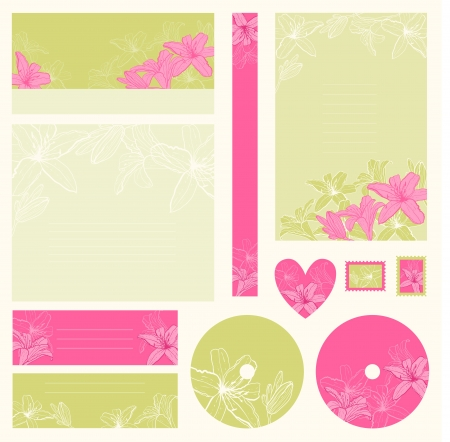 love stamp: Set of wedding invitations with flowers background