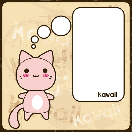 Kawaii card with cute cat on the grunge background  Stock Vector - 18352732