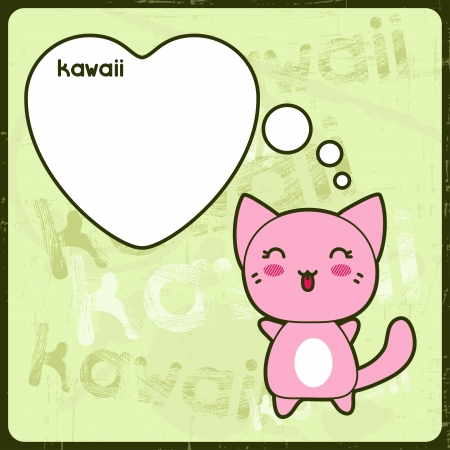 Kawaii card with cute cat on the grunge background  Vector