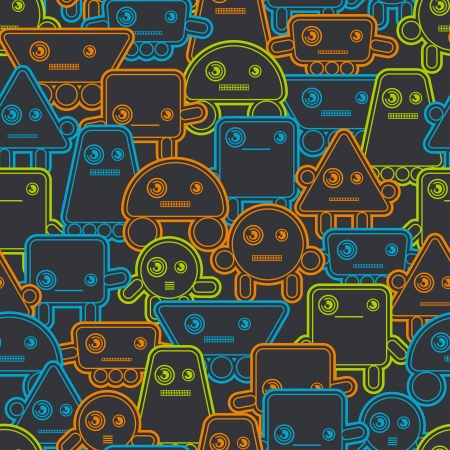 retro robot: Cartoon robots seamless pattern