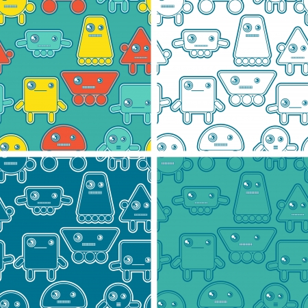 Cartoon robots seamless patterns Stock Vector - 18461769