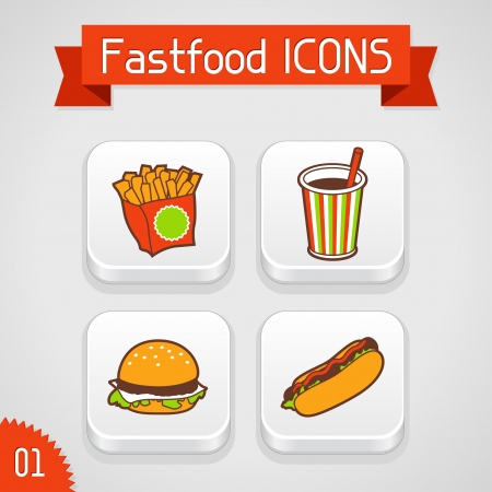 Collection of apps icons with fast food illustration  Set 1  Vector