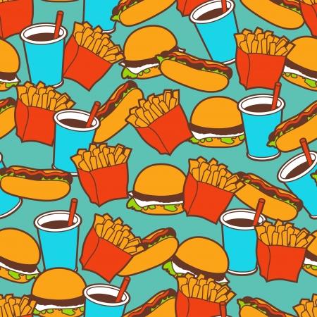 italian sausage: Fast food seamless pattern in retro style  Illustration