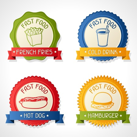 Set of badges with burger, hot dog, french-fry and drink Stock Vector - 18463192
