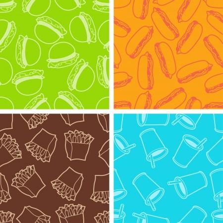 italian sausage: Fast food seamless patterns in retro style  Illustration