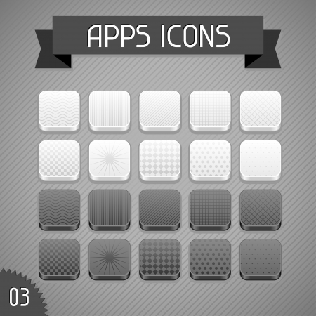 Collection of monochrome apps icons  Set 3 Stock Vector - 18467935