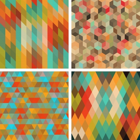 Seamless abstract geometric patterns set  Stock Vector - 18563596
