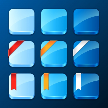 Set of the app icons with ribbons and banners  Vector