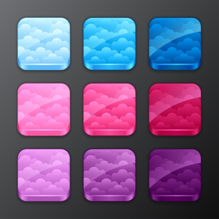 Set of backgrounds with clouds for the app icons  Vector