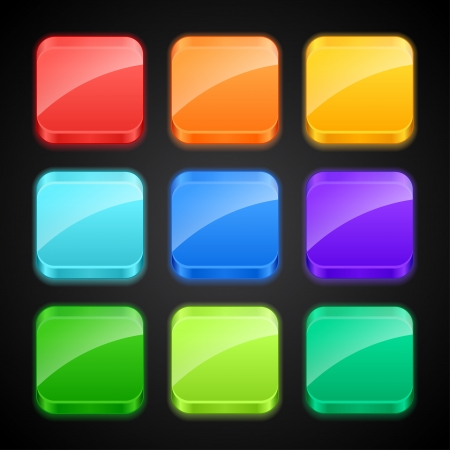 Set of luminous color apps icons Stock Vector - 18632402