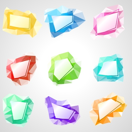 Multicolored speech bubbles with abstract triangular background  Vector