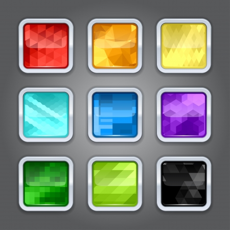 Set of backgrounds with metal border for the app icons Stock Vector - 18688256