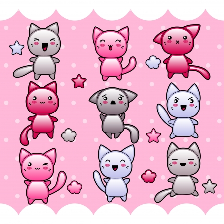 Card with cute kawaii doodle cats  Vector