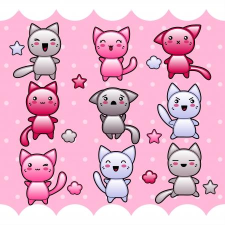 żartować: Karty z cute doodle kawaii kotów